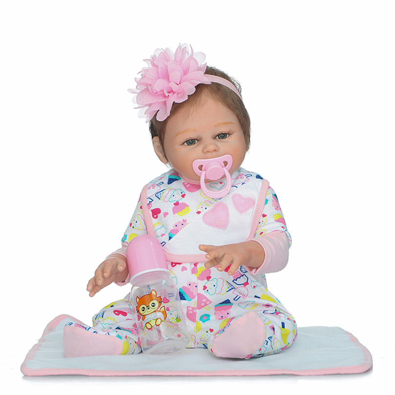 Full Silicone Reborn Baby Girl Doll Toy 50cm Newborn Princess Babies Alive Doll Girl Bonecas Birthday Gift Play House Toy full set top quality 60 cm pvc doll 1 3 girl bjd wig clothes shoes all included night lolita reborn baby doll wedding price shas