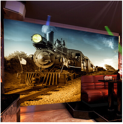 Captivating Mural Personalized 3D Wallpaper Tv Background Wall Vintage Large Mural  Steam Train In Wallpapers From Home Improvement On Aliexpress.com | Alibaba  Group Part 22