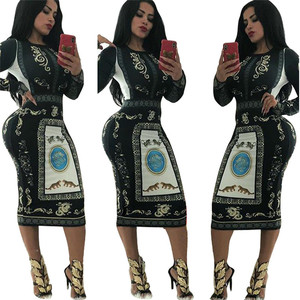 2018 женские осенние платья с длинными рукавами, с геометрическим принтом винтажное платье халат сексуальное обтягивающее облегающее миди о...