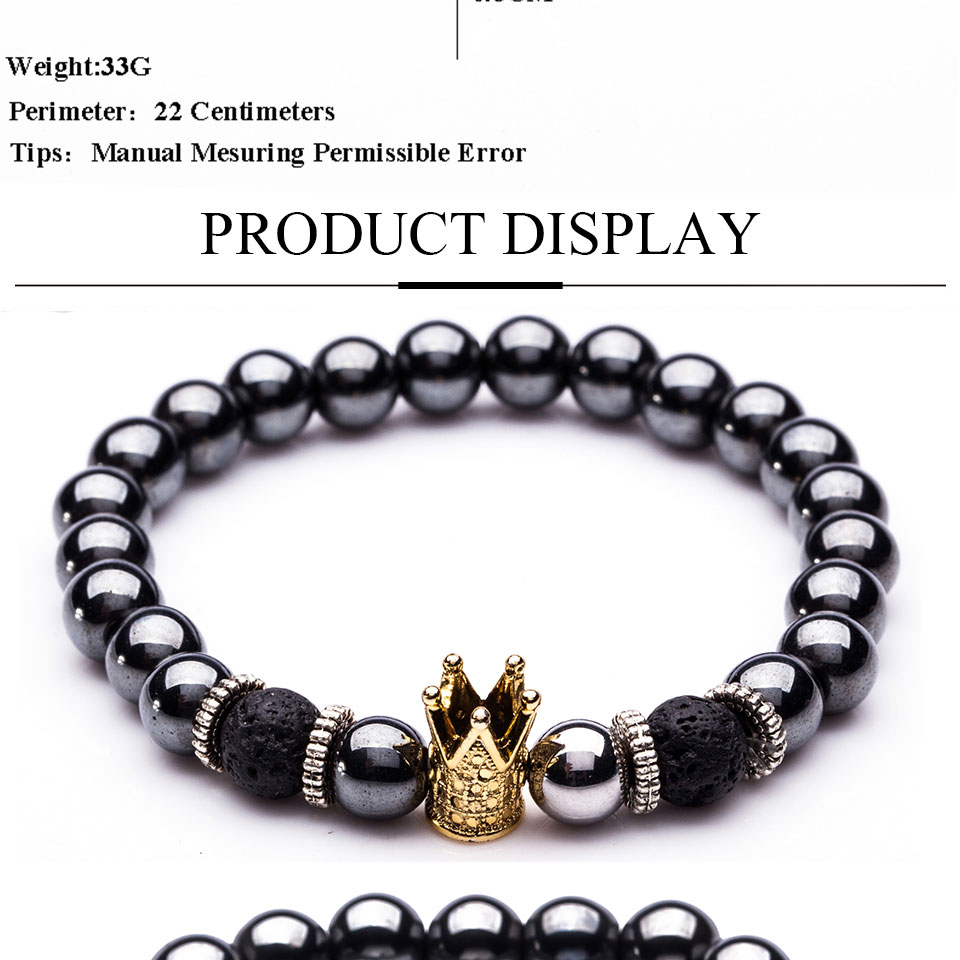 Hematite Stone Bead Strand Bracelet Golden and Silver Panther Crown Pendant Charms Bracelets&Bangles for Men Male Jewelry
