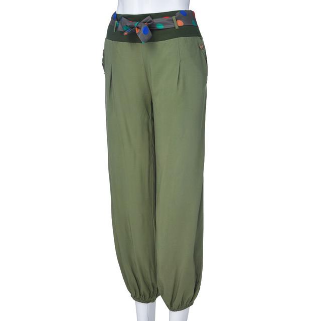 Women Solid Low Waist Boho Baggy Pants