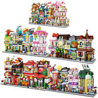 LOZ Mini Bricks Architecture Mini Street Model Cake Store Shop Building Assembly Toy City Square Block Set Bookstore Kids Gift