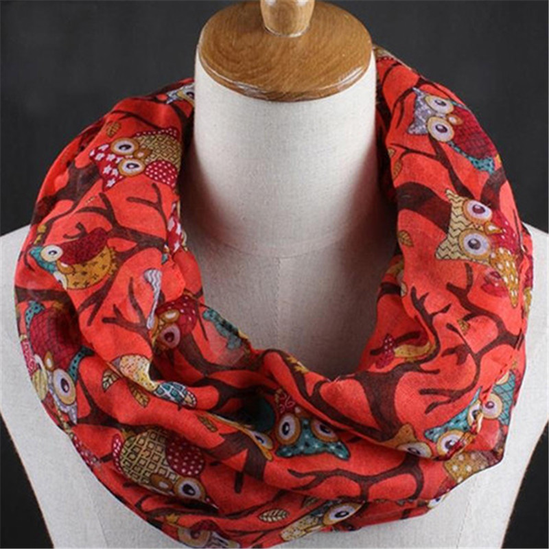 Square   Scarf   Hair Tie Women Girl Owl Branch Print Soft Long Voile   Scarf     Wrap   Stole Shawl Gift Retro Head Neck Silk Satin   Scarf