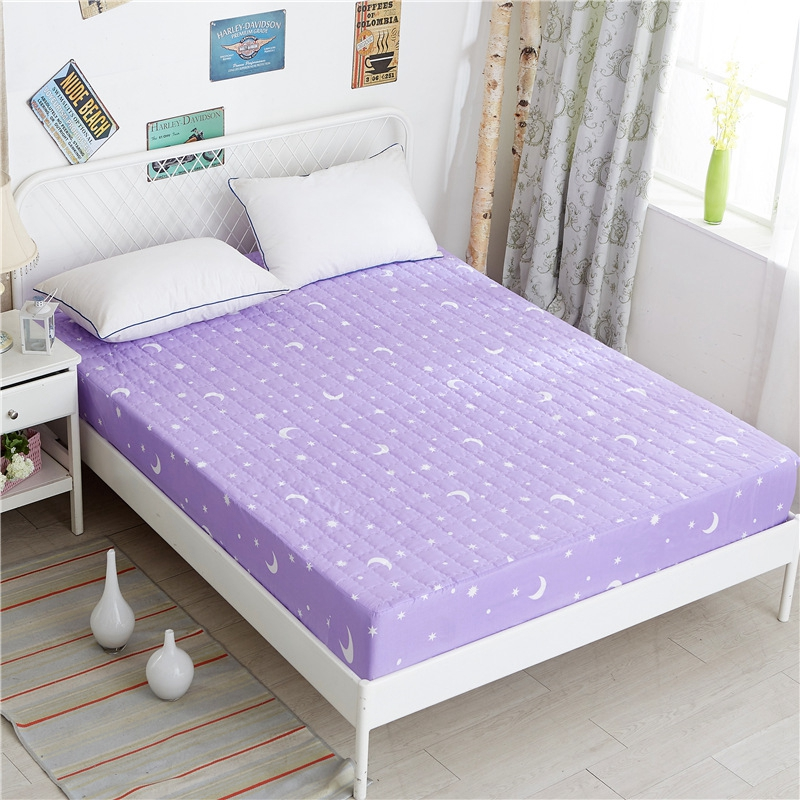 purple moon stars print fitted sheet cotton soft cushion mattress cover bedding bed sheets with. Black Bedroom Furniture Sets. Home Design Ideas