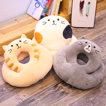 New 1PC 30 *35cm Soft Animal Cartoon Pillow Cute Cat Round Nap Plush Toy Child Birthday Gift A pillow