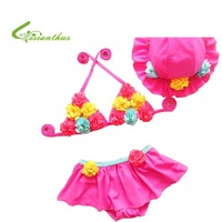 New 2016 Children S Three Piece Swimwear For Girls Swimsuit Rash Guard Three Small Flowers In