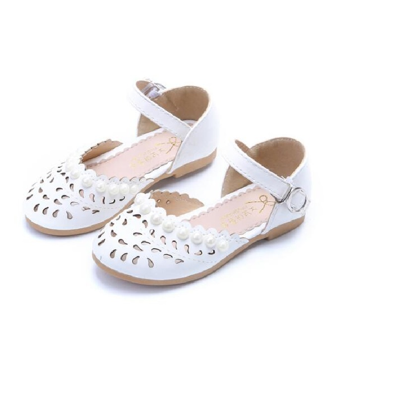 Girls Summer Flower Princess Leather Shoes 2018 New Fashion Qualities Kids Girl Wedding Shoes Leather Flat Girls 22