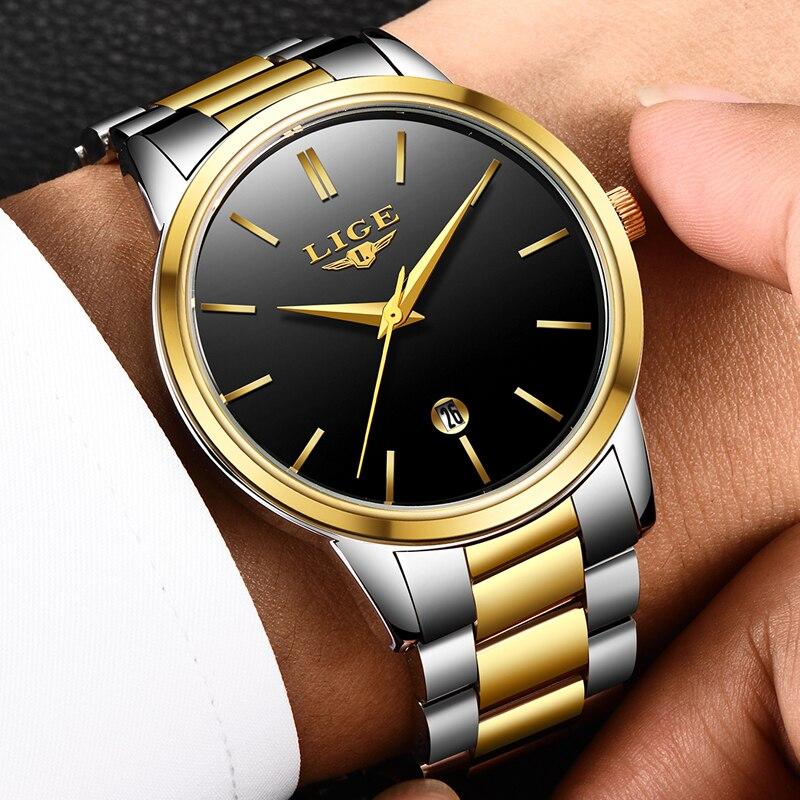 LIGE Ultra thin Fashion Male Wristwatch 2018 Top Brand Luxury Business Watches Waterproof Scratch-resistant Men Watch Clock +BOX