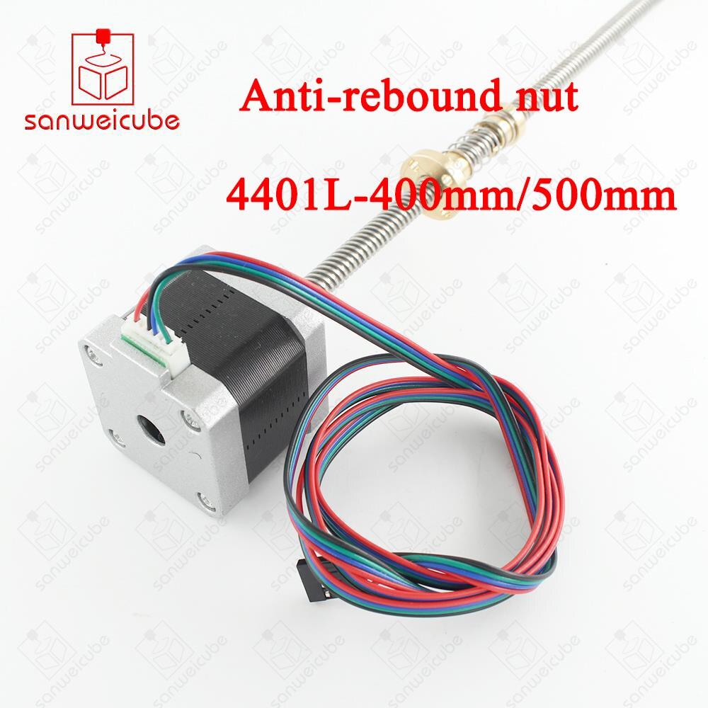 3d printer screw lead 8mm L 300mm 400mm 500mm 17HS4401 T8 Anti Backlash Nut Motor nema17 stepper motor with T8 300mm 42 motor цена