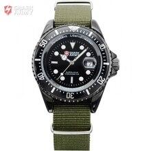EJÉRCITO SHARK Fecha Caja Acero Negro Verde Del Ejército Correa de Tela de Nylon Outdoor Fun Sport Watch Militar Reloj de pulsera de Cuarzo/SAW016