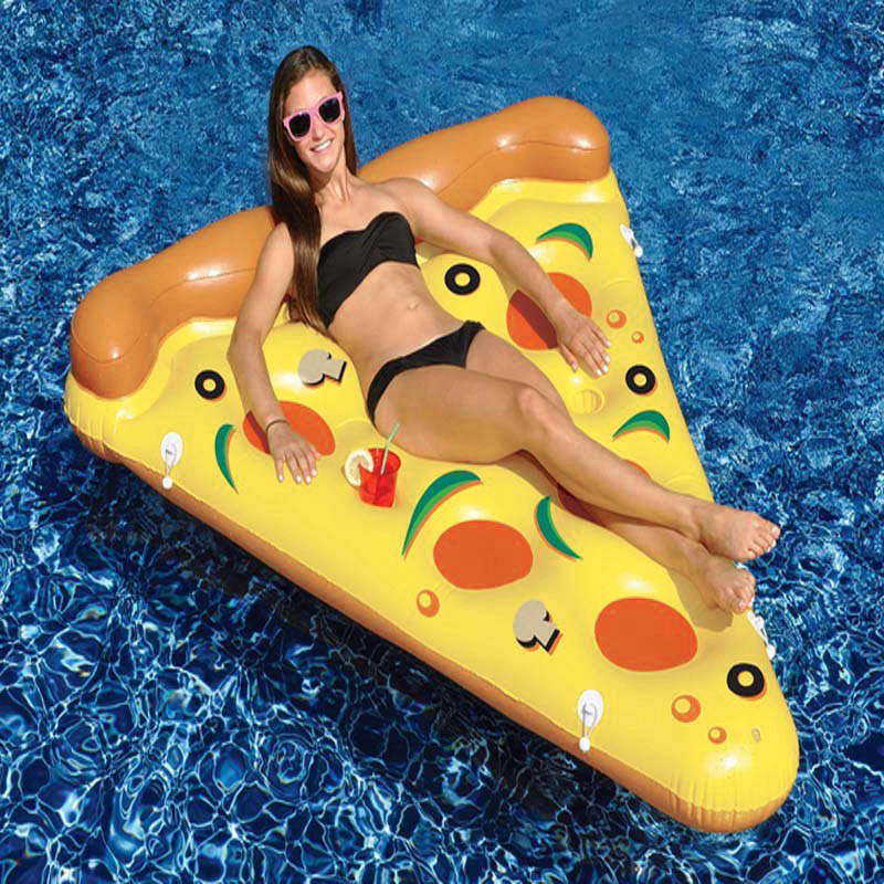 ФОТО Water Toy Summer Holiday Float Bed Inflatable Pizza Slice Floating Bed Swimming Pool Water Lounge Seat Air Mattress Raft