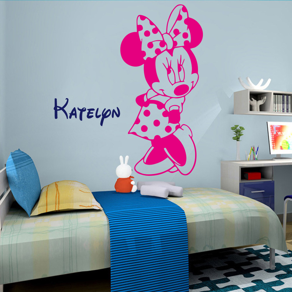 Lovely Minnie Mouse Custom Name Wall Decal Wallpaper For Baby Kids Girls  Room Decor bedroom Decoration Mickey Mural Sticker