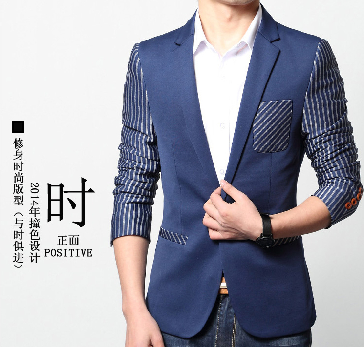 Watch Cheap fashion blue single button Stripe suits blazer mens coats and jackets male style new