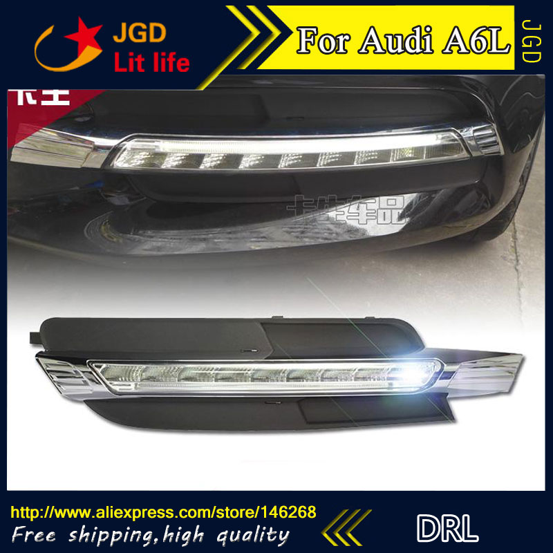 Бесплатная доставка ! 12В 6000K светодиодные DRL фары дневного света для Audi A6L 2013-2015 противотуманная фара стайлинга автомобилей