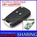 Frete grátis (1 pcs) 2 Botão Virar chave Remota com 433 MHZ para Chevrolet Crus