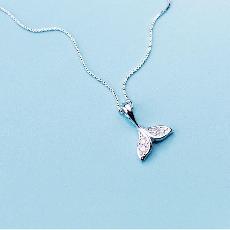 c32b222f3fa7 MloveAcc 925 plata esterlina claro CZ ballena peces cola de sirena colgante  collares mujeres joyería de plata esterlina - a.dupa.me