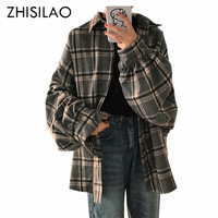 ZHISILAO Woman Blouse Woman Blousa Plaid BF Oversize Shirt Plus Size Blusas Feminina Woman Chemisier Shirt Loose Blouse Chic