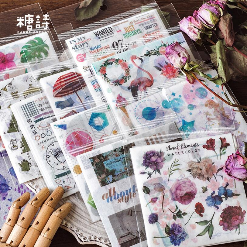 10 Sheets Dream Flower Plant Travel Diary Stickers Transparent Fairy Tale Scrapbooking Decorative Cute Bullet Journal Stickers