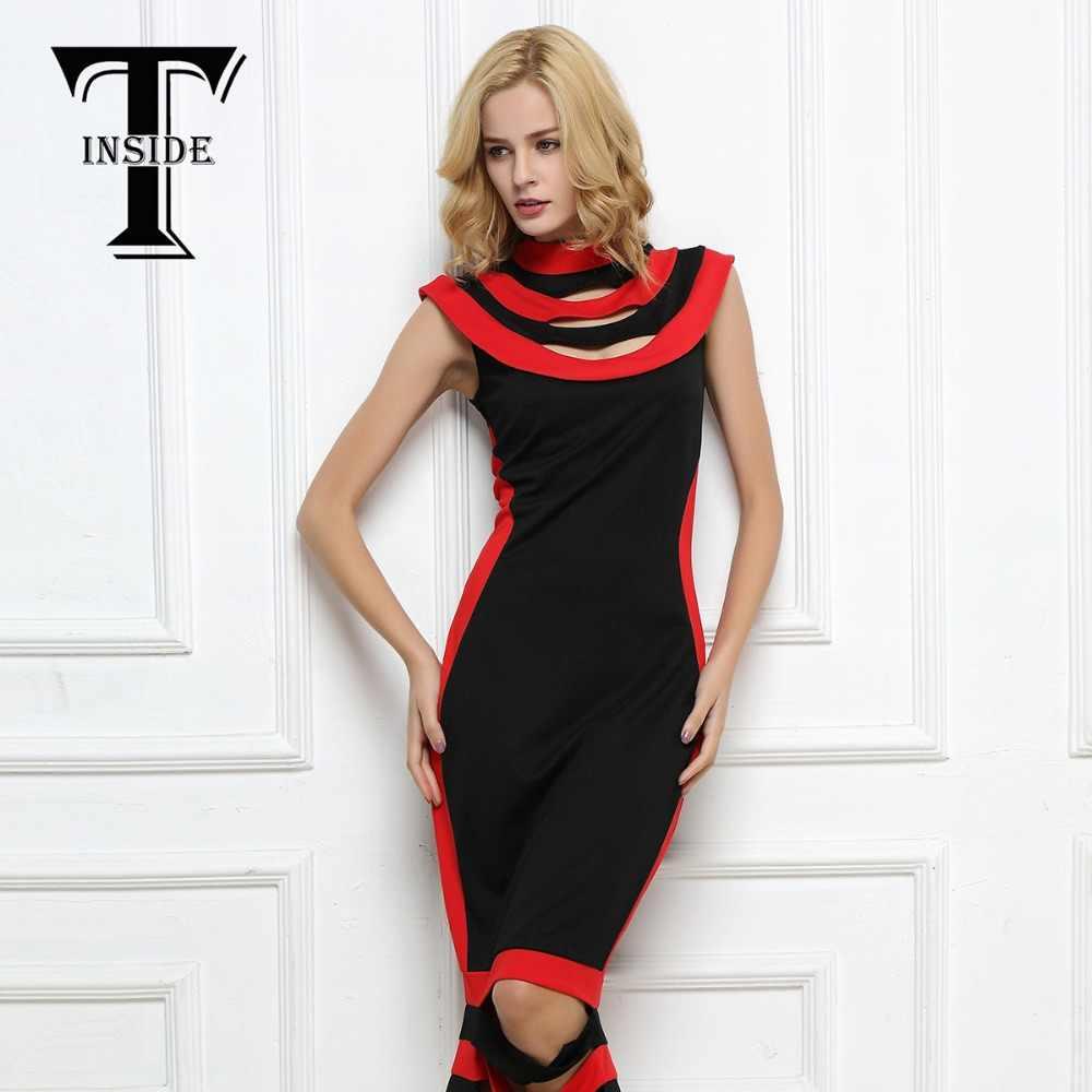 4ac6cf9d492f Фирма T-INSIDE, 2016 женское узкое платье в полоску, утягивающее, платье  без рукавов, ...