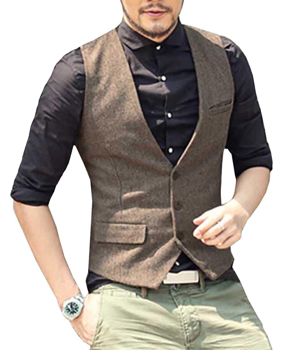 Mens Suit Vest V Neck Wool Brown Grey Formal Single-breasted Waistcoat Casual Business Groomman For Wedding Slim Fit Vest