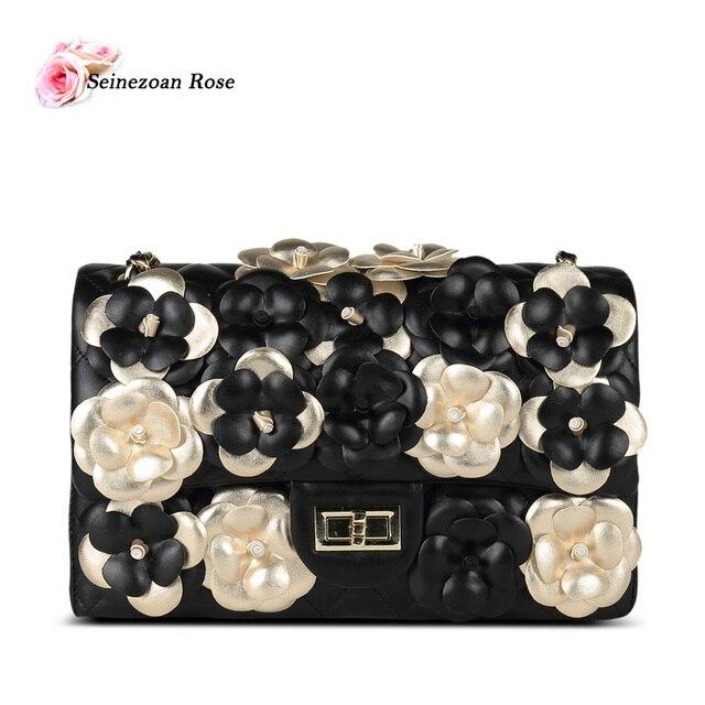 2016 Fashion Women's Genuine Leather Handbags Famous Brands Designer Camellia Bags Women Flap Purses Ladies Messenger Bags bolsa
