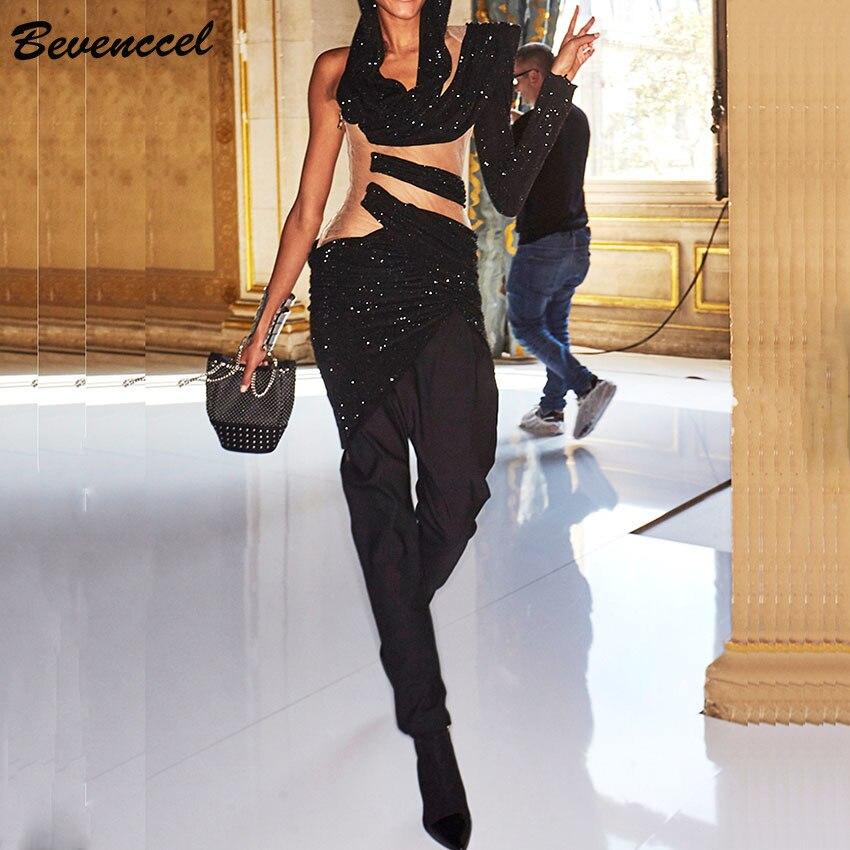 Haute qualité nouveauté noir Sexy femmes robe une épaule maille Patchwork évider célébrité robe de soirée robes