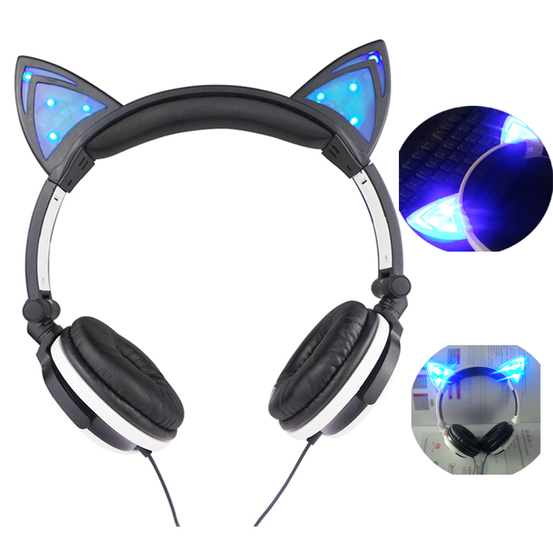 Ollivan Gaming Headphones Cat Ear Luminous Earphone Foldable Flashing Glowing Headset with LED light For PC Laptop Adult Kids fashion cat ear headphones led ear headphone cats earphone flashing glowing headset gaming earphones gifts for adult child girls