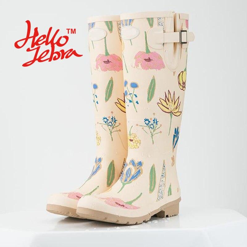 Women Tall Rain Boots Ladies Low Hoof Heels Waterproof  Graffiti Buckle High Nubuck Round Toe Rainboots 2016 New Fashion Design women tall rain boots ladies low hoof heels waterproof graffiti buckle high nubuck round toe rainboots 2016 new fashion design