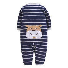 BEAR Print Fleece Newborn Baby Girl Overalls Romper Macacao Bebe Body Rompers New Born Clothes, Size 3-12M