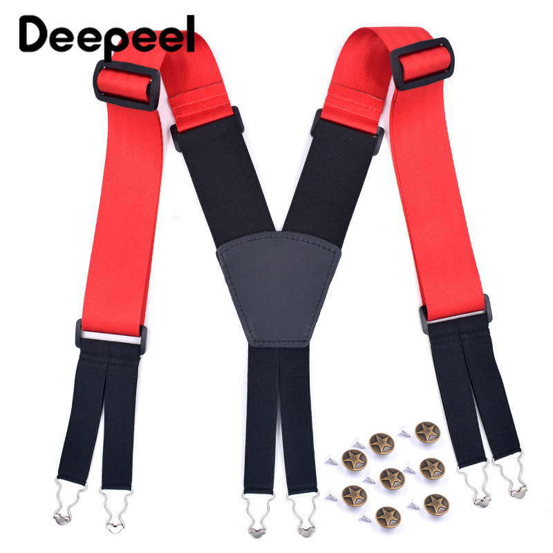 Deepeel 1pc 5X125cm Widening Adult Men Suspenders 6 Clip Elastic Strap Casual Jeans Decorative Accessories Suitable For Obesity