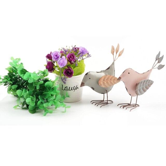 Старинные украшения дома пара мило металлическая подставка птицы лист крылья украшения дома аксессуары ремесла розовый серый главная & сад