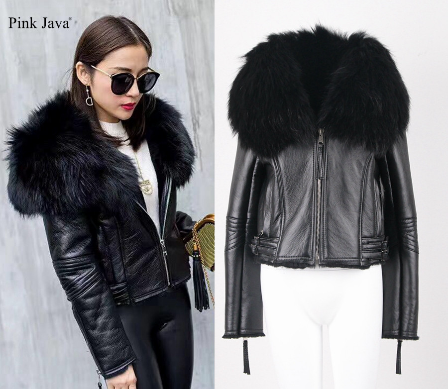 pink java QC5032 natural raccoon fur collar genuine leather jacket shearling coat for women winter outfit