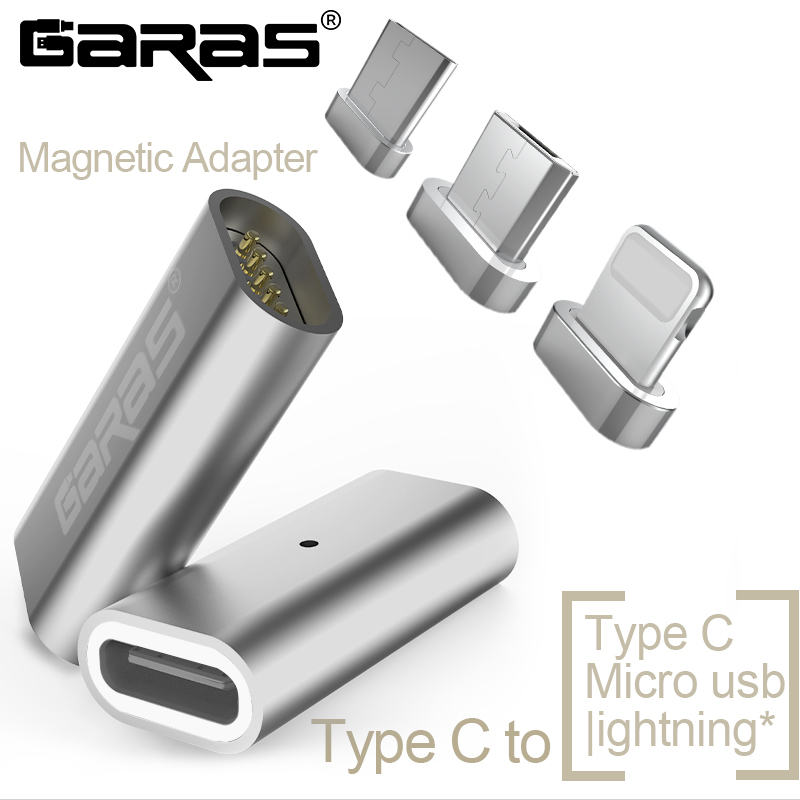 GARAS Type-C To Micro/For IPhone Magnetic Adapter For IPhone/Android 3in 1 Data Cable Converter Adapter Type C To Micro USB C