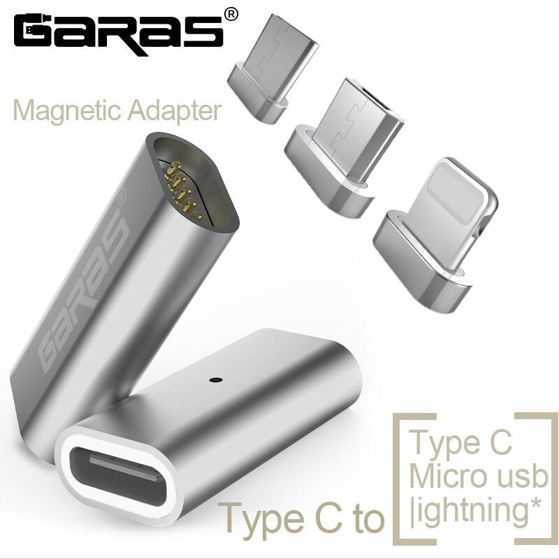 GARAS tipo-C Micro/para magnética lightning adaptador para iPhone/Android 3in 1 Cable de datos convertidor adaptador de tipo C a Micro USB-C