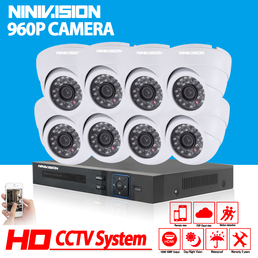 Dome CCTV Security Camera System 8CH 1080P CCTV System HD White 960P 1 3MP Camera Home
