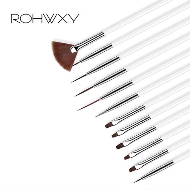 ROHWXY 12 PCS מניקור סט Pencel מנקדים ציור עיצוב אקריליק אמנות מברשת ציפורניים מניקור קישוט סט של מברשות