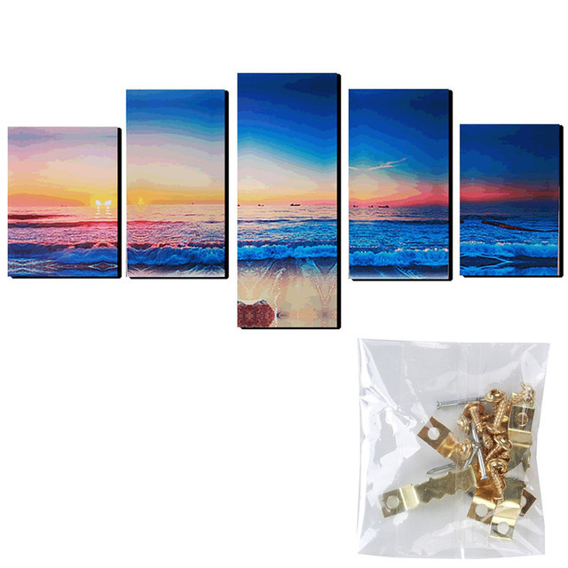 5 panneaux moderne abstrait coucher du soleil peinture de plage en toile mur art photo mur. Black Bedroom Furniture Sets. Home Design Ideas