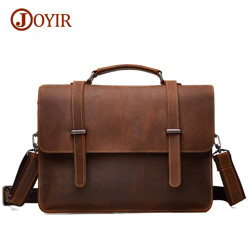 Joyir Brand Mens Office Bags For Men Genuine Leather Briefcase Handbags Shoulder Laptop Business Man Bag 6148 In Briefcases From Luggage
