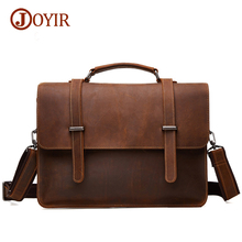 Joyir Brand Mens Office Bags For Men Genuine Leather Briefcase Handbags Shoulder Laptop Bags Business Man bag Briefcase 6148