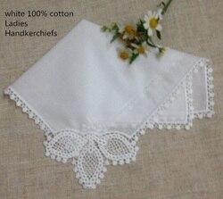 120 Stks/partij Mode vrouwen Zakdoeken 11.5x11.5 wit Katoen Wedding Zakdoek Gehaakte Kant Zakdoeken Hanky Voor Bridal geschenken
