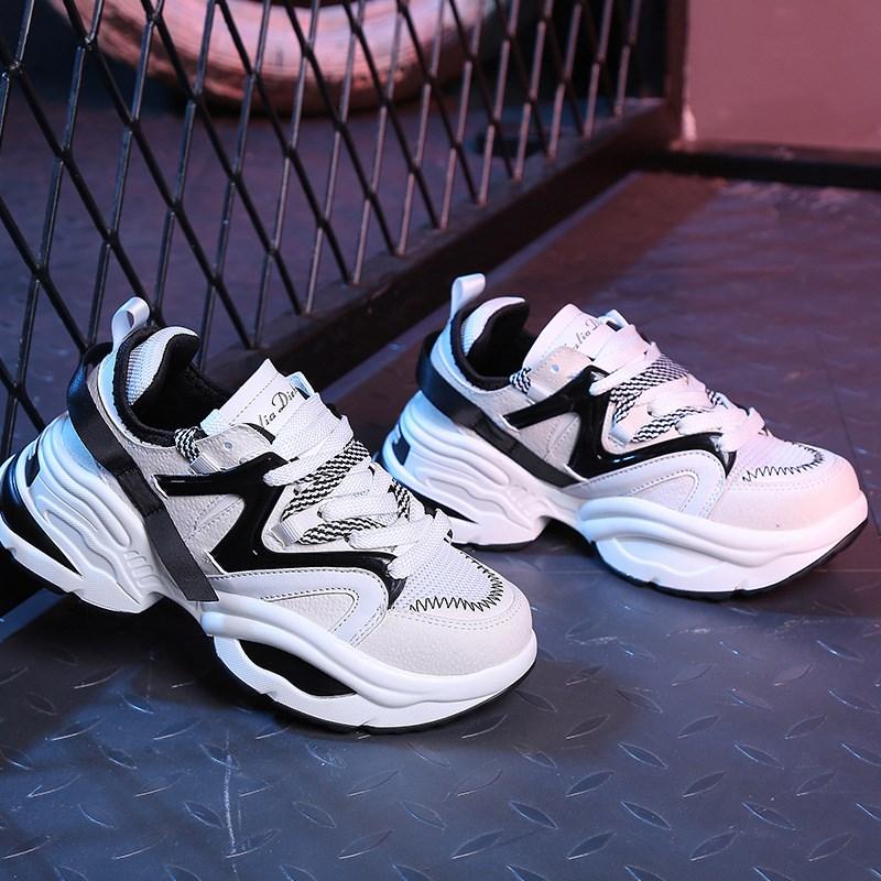 Suola seven Tennis Chaussures Il Personaggio Nero bianco Trendy Signore Della Donna Buty Chunky Scarpe Spessa Colors Di Papà Delle Damskie Piattaforma Donne Web Da Un Famoso Femme qwAYwSa