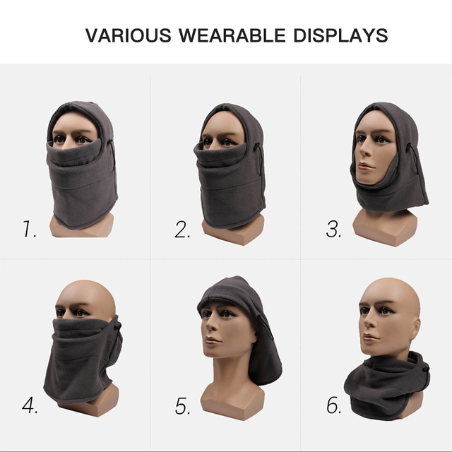 Motorcycle Mask Biker Winter Balaclava Motorbike Face Mask Skiing Cycling Riding Face Shield Headband Thermal Fleece Helmet Mask 2