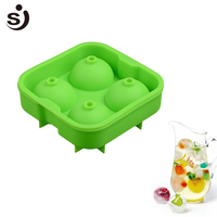 11 8 11 8 5CM Silicone Bar Tools Ice Cube Tray 4 Large Mold Ice Ball