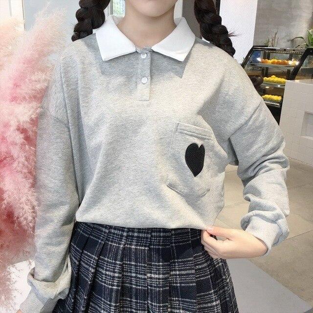 Katoen Leuke Liefde Borduren Meisjes T-shirt Harajuku Mode Losse Revers Vrouwen Tops Lange Mouw Zoete Roze Student T-shirt