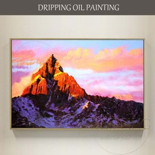 Excellent Artist Pure Hand-painted High Quality Abstract Mountain Landscape Oil Painting on Canvas Hill