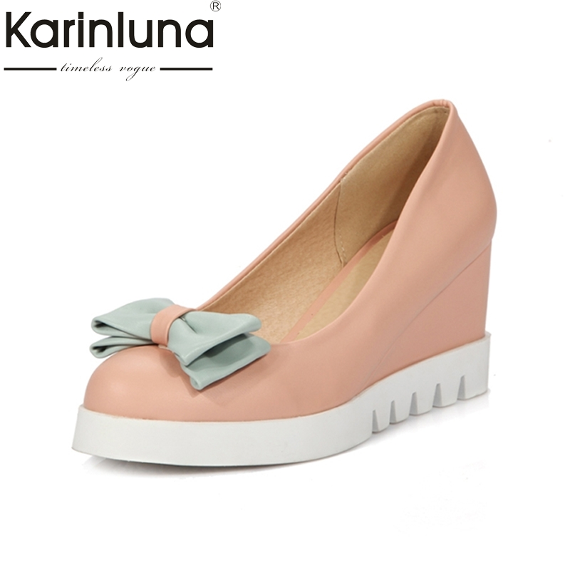 KARINLUNA 2018 big size 33-43 sweet bowtie pointed toe slip on woman shoes platform wedges high heels party pumps lady fashion crocodile patent platform wedges shoes for women sexy pointed toe slip on high heels women wedges size 34 42 lady pumps
