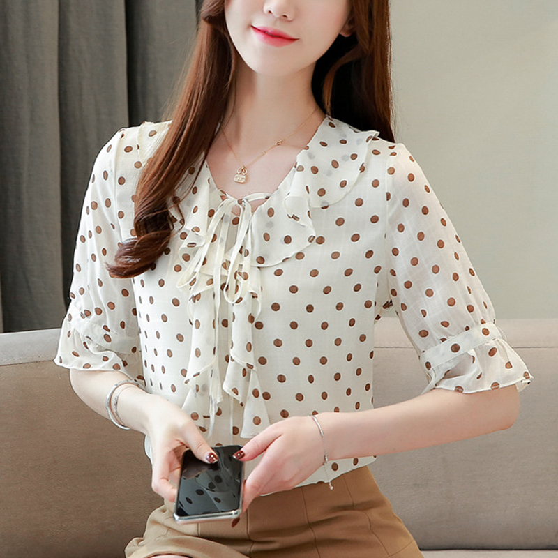 2019 Summer New Women Blouse Polka Dot Print Chiffon Shirt Flare Sleeve Korean Fashion Bow Lace up Causal Shirts in Blouses amp Shirts from Women 39 s Clothing