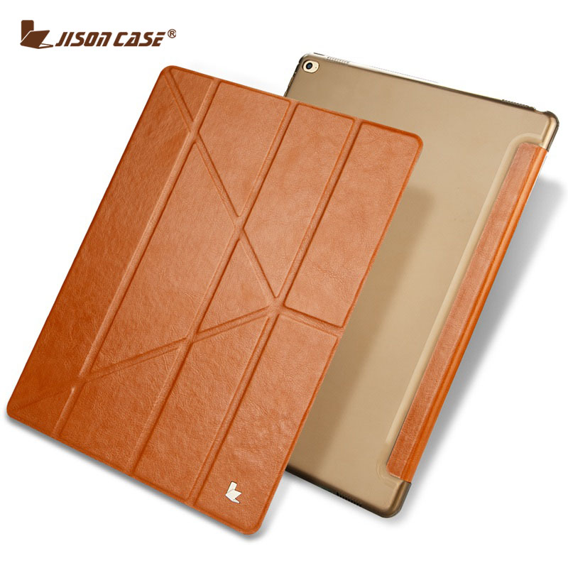 "Jisoncase  Flip Case for iPad Pro 12.9 PU Leather Transparent Tablet Folio Smart Cover for iPad Pro 12.9"" Slim Auto Wake Funda"