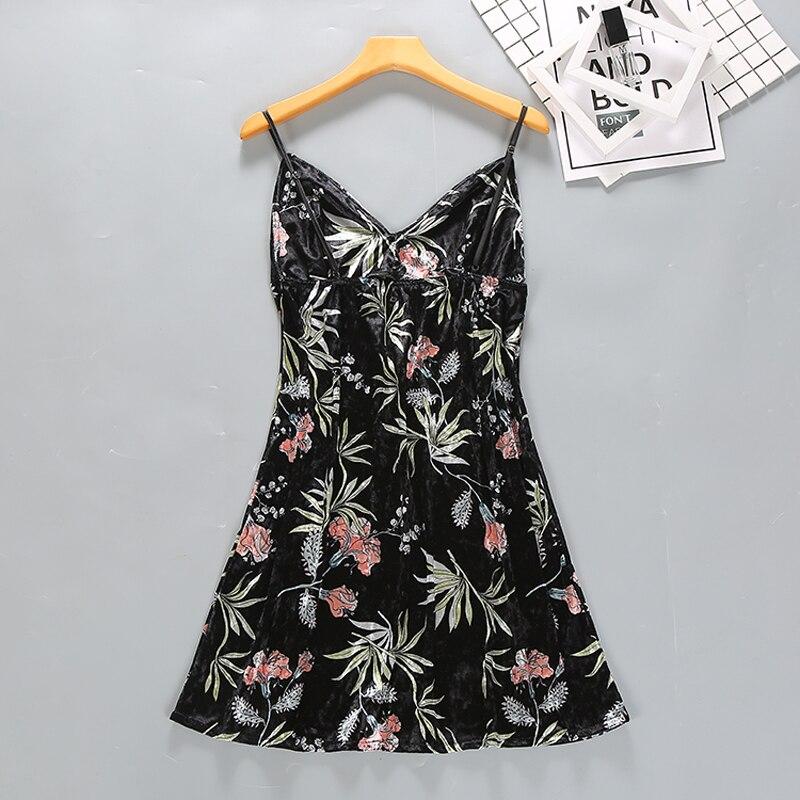 Women Velour Nightgown Sleeveless Sleepshirt Print Nightdress Winter Autumn Nightwear Fashion Home CLothing