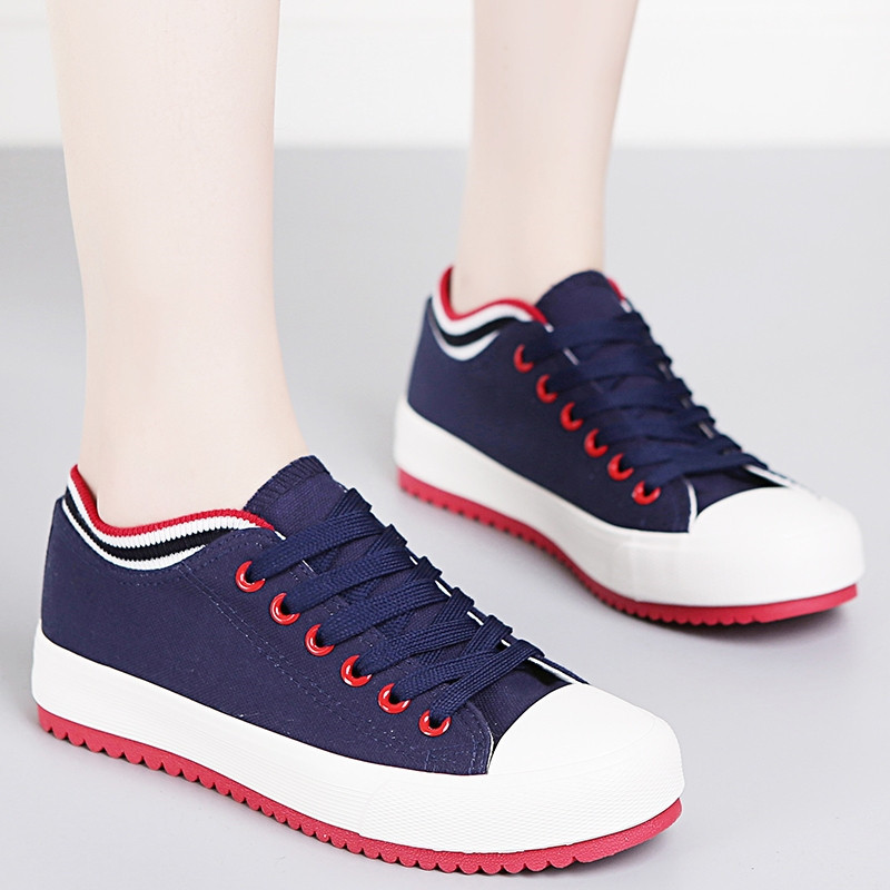 Classic Canvas Shoes White Flats Lace Up Women Vulcanize Shoes Woman Red Sneakers Girl Sweet Trainers zapatillas Casual de mujer in Women 39 s Vulcanize Shoes from Shoes